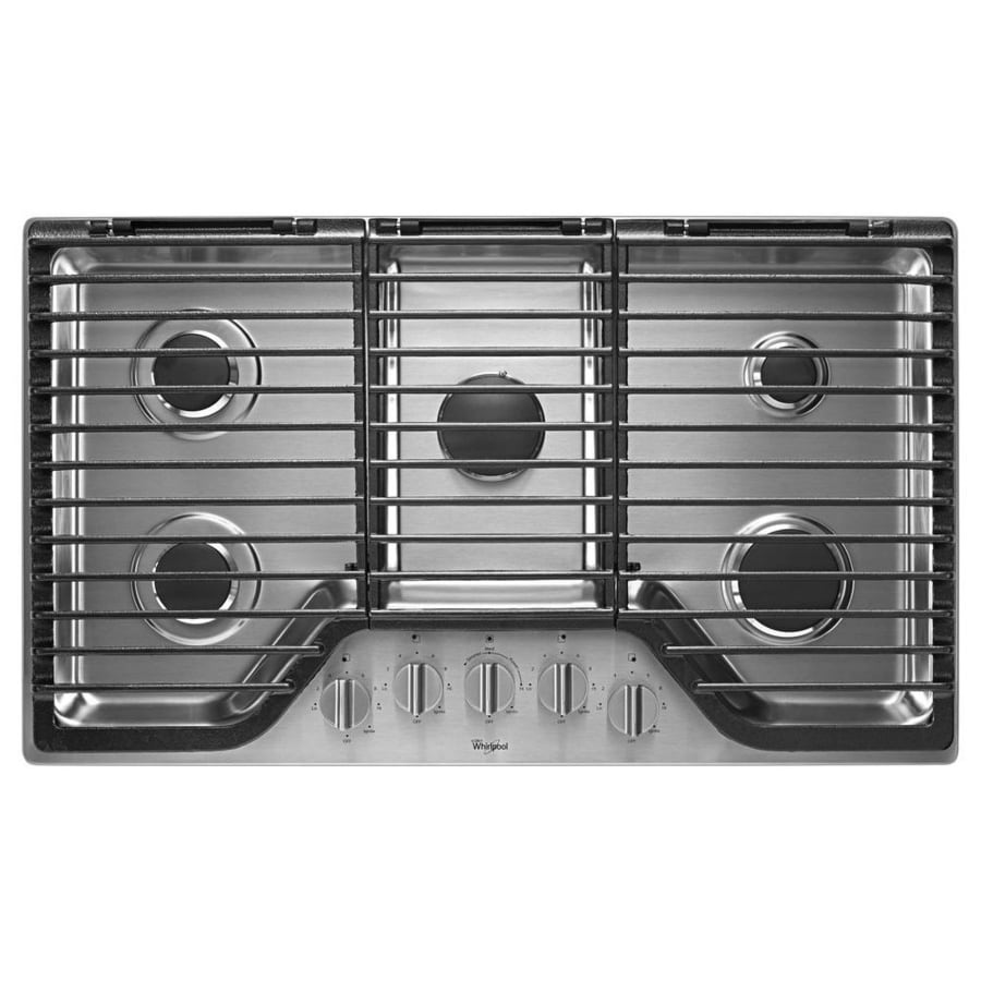 5 Burner Gas Cooktops: Whirlpool 5-Burner Gas Cooktop (Stainless Steel) (Common