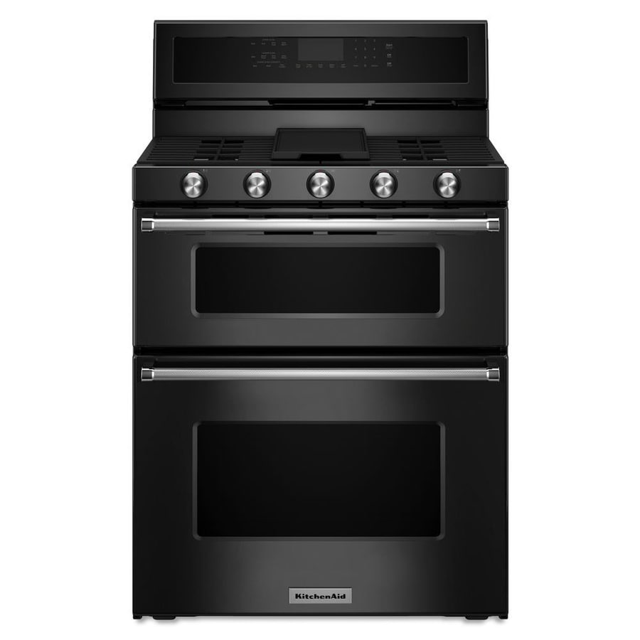 KitchenAid 30-in 5-Burner 3.9-cu ft / 2.1-cu ft Self-Cleaning Double Oven Convection Gas Range (Black)
