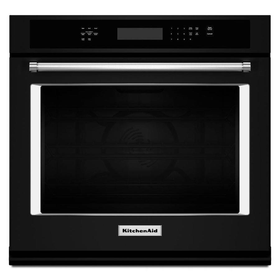 KitchenAid Self-cleaning Convection Single Electric Wall Oven (Black) (Common: 27-in; Actual 27-in)