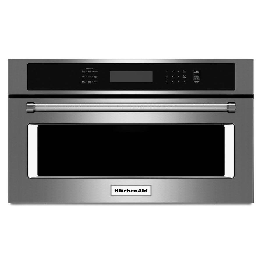 Shop kitchenaid 1 4 cu ft built in convection microwave with sensor cooking controls stainless - Kitchenaid microwave ...