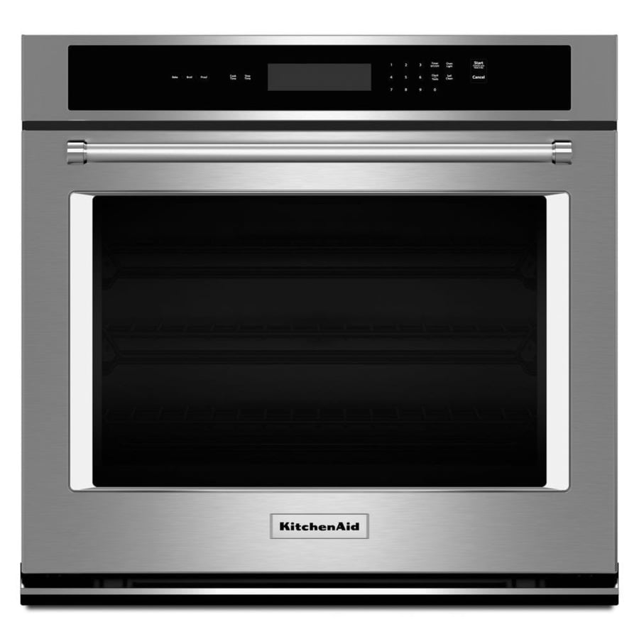 kitchenaid self cleaning single electric wall oven stainless steel rh lowes com