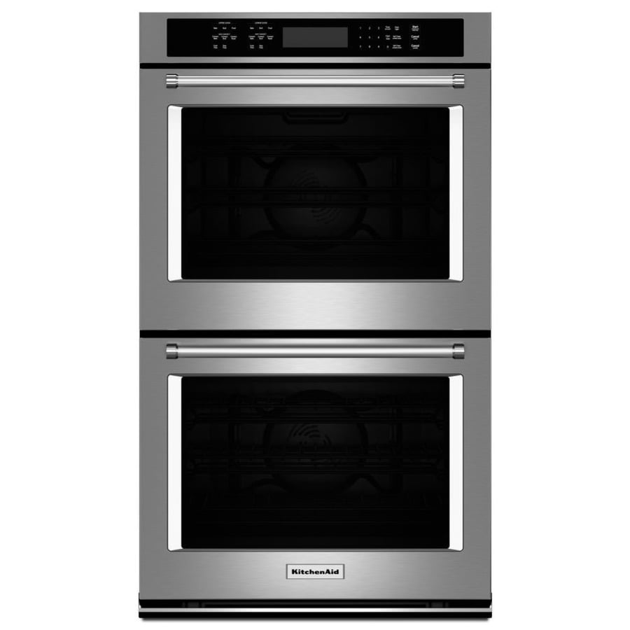 KitchenAid Self-Cleaning Convection Double Electric Wall Oven Single-Fan (Stainless Steel) (Common: 30-in; Actual: 30-in)