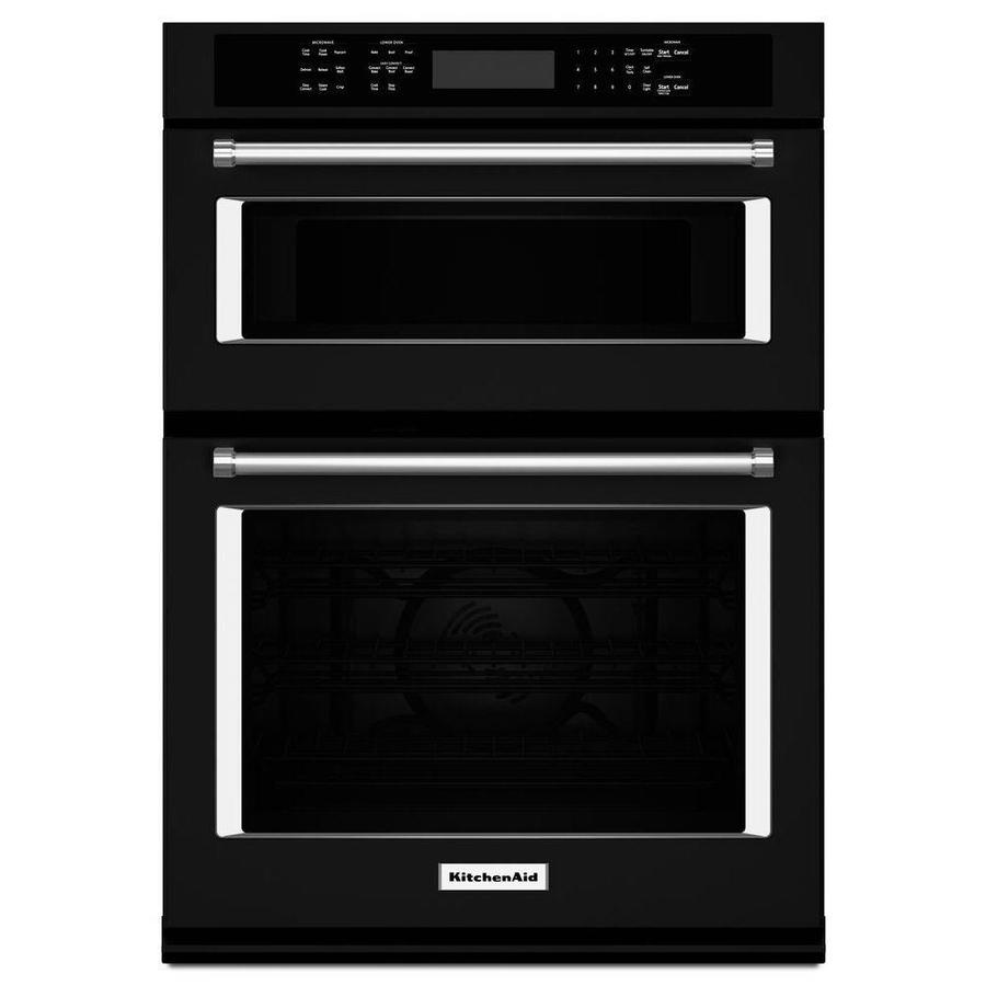 Kitchenaid Self Cleaning Convection Microwave Wall Oven Combo Black