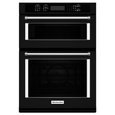 Self Cleaning Convection Microwave Wall Oven Combo Black 27 Inch Actual In