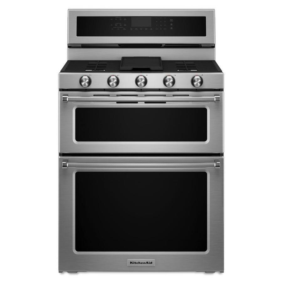 KitchenAid 30-in 5-Burner 3.9-cu ft/2.1-cu ft Double Oven Convection Gas Range (Stainless Steel)