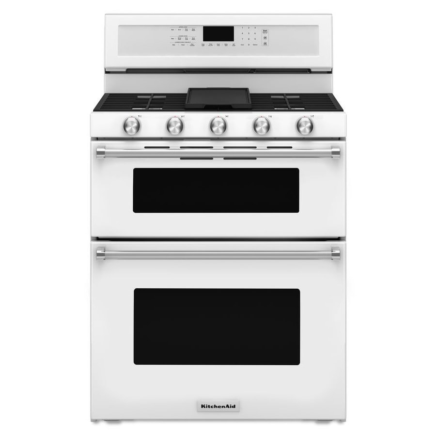 KitchenAid 30-in 5-Burner 3.9-cu ft/2.1-cu ft Self-Cleaning Double Oven Convection Gas Range (White)