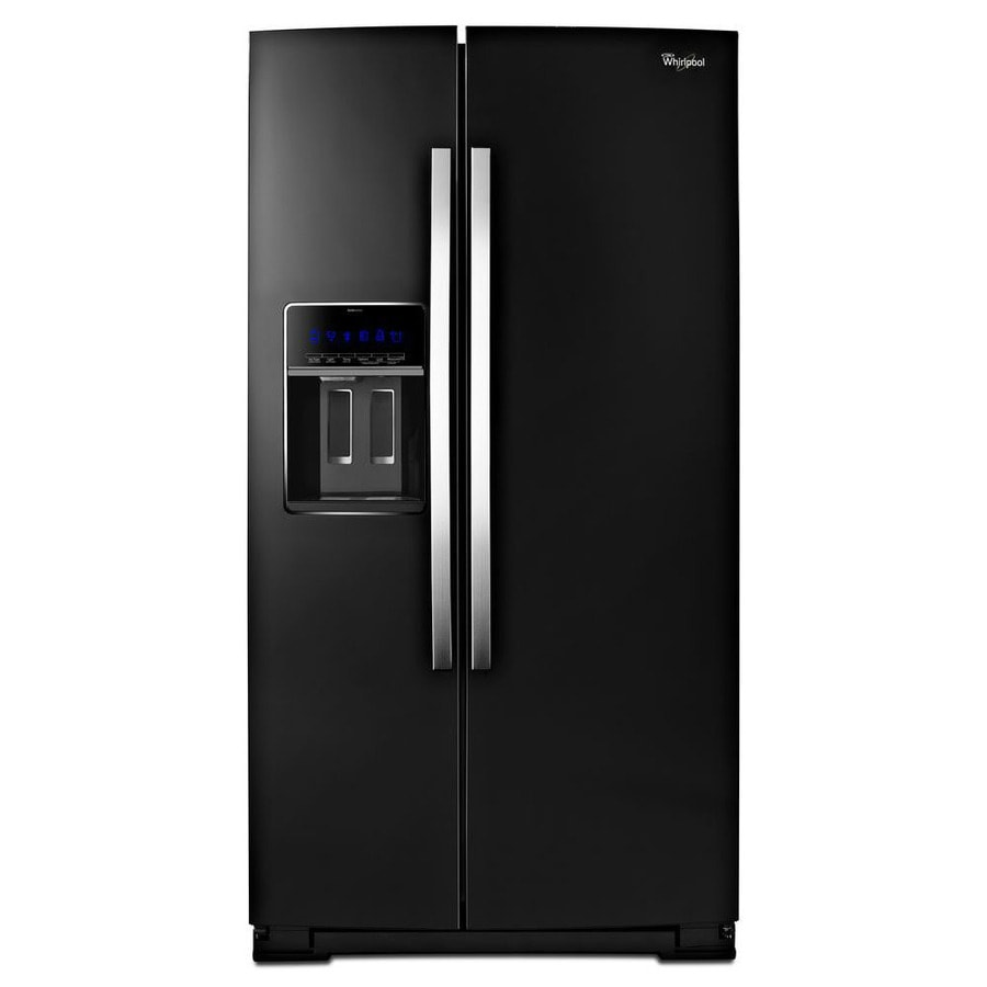 Whirlpool 19.9-cu ft Counter-Depth Side-by-Side Refrigerator with Single Ice Maker (Black Ice)