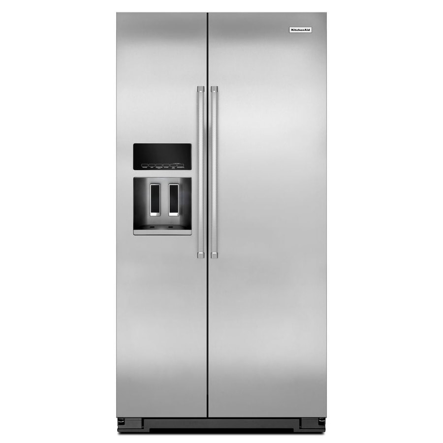 Shop KitchenAid 22.6-cu ft Counter-Depth Side-by-Side Refrigerator ...