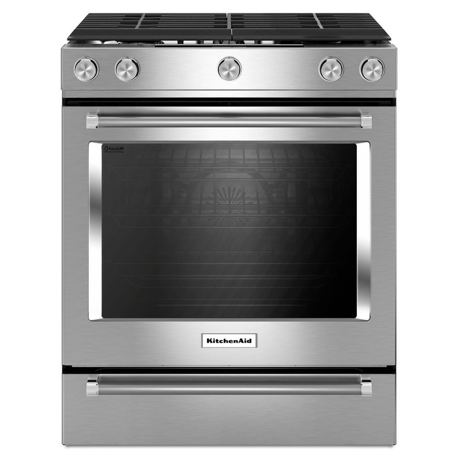 Kitchenaid 5 Burner 8 Cu Ft Self Cleaning Slide In Convection Gas