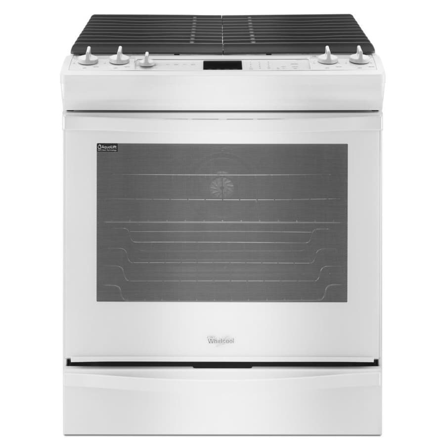 Whirlpool Gold 5-Burner 5.8-cu ft Slide-In Convection Gas Range (White) (Common: 30-in; Actual 29.875-in)