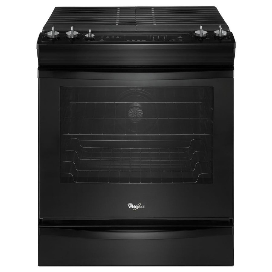 Whirlpool Gold 5-Burner 5.8-cu ft Slide-In Convection Gas Range (Black) (Common: 30-in; Actual 29.875-in)