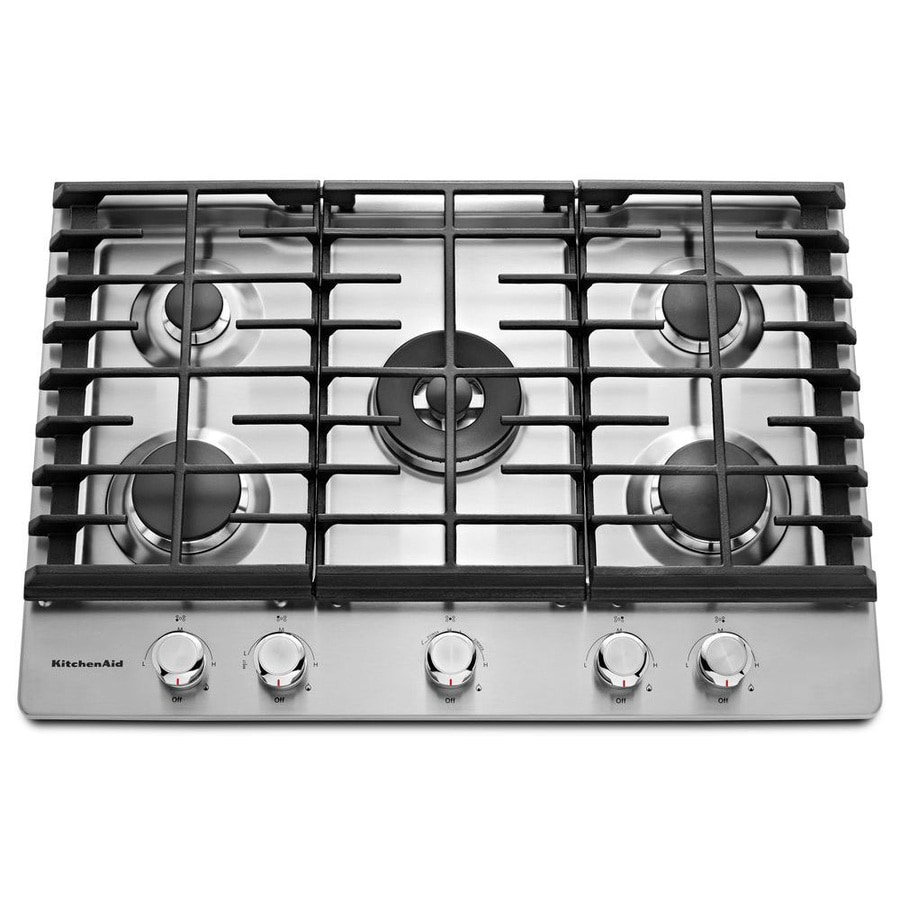 shop kitchenaid 5 burner gas cooktop stainless steel common 30 in actual 30 in at. Black Bedroom Furniture Sets. Home Design Ideas