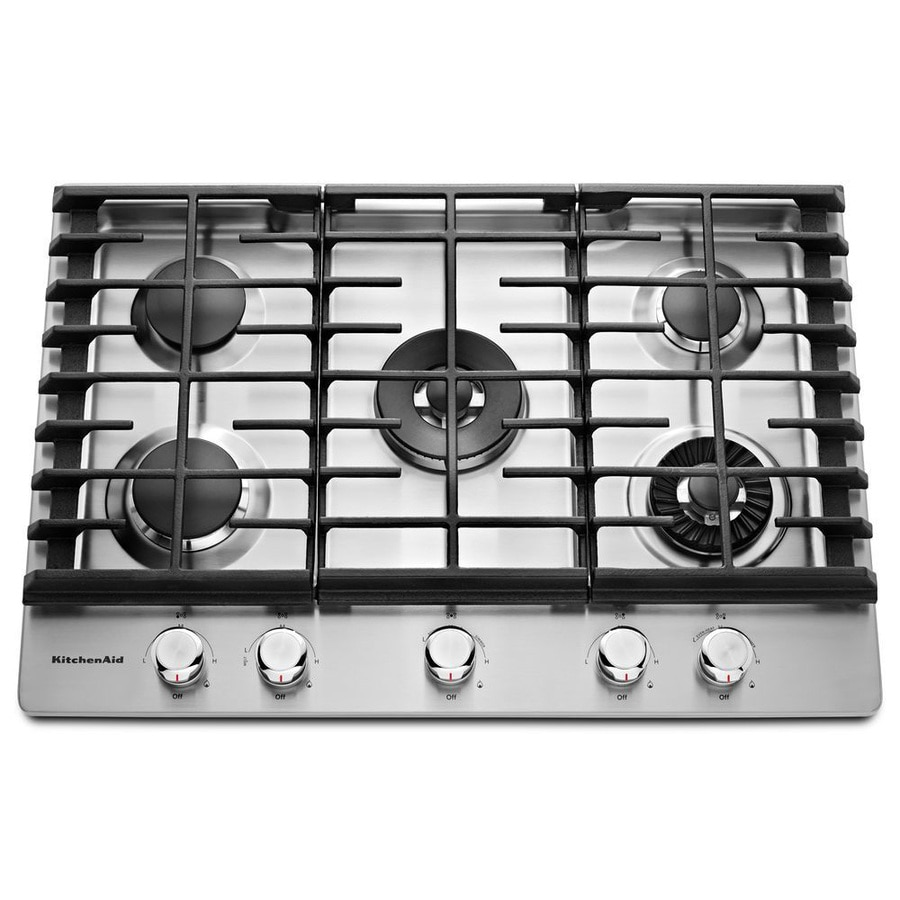 KitchenAid 5-Burner Gas Cooktop (Stainless Steel) (Common: 30-in; Actual: 30-in)