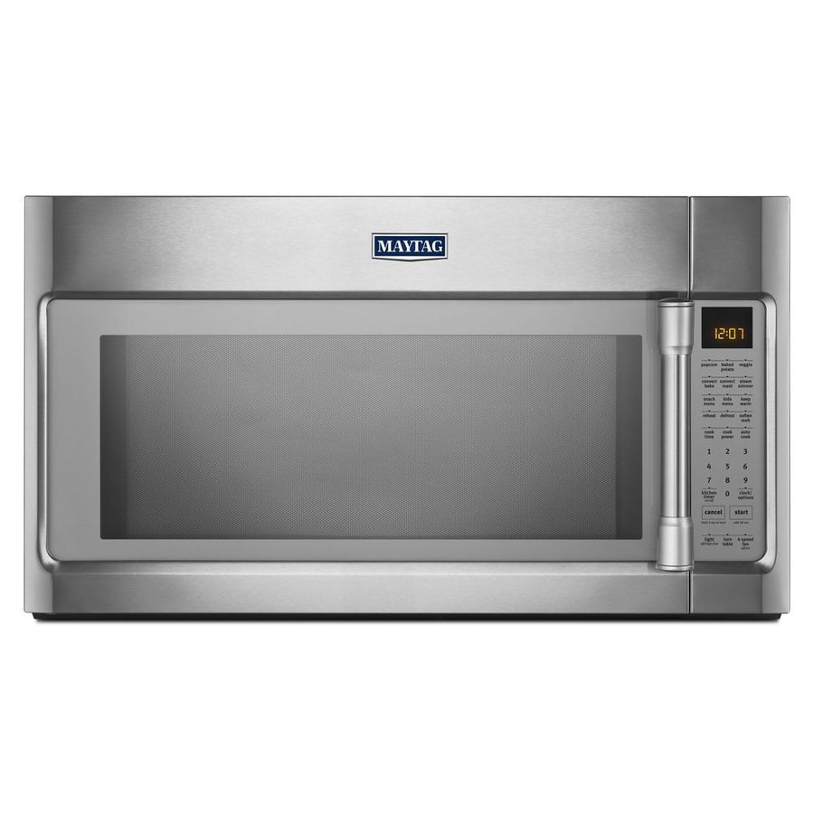 Maytag 1 8 Cu Ft Over The Range Convection Microwave With Sensor Cooking Controls Stainless Steel Common 30 In Actual 29 9