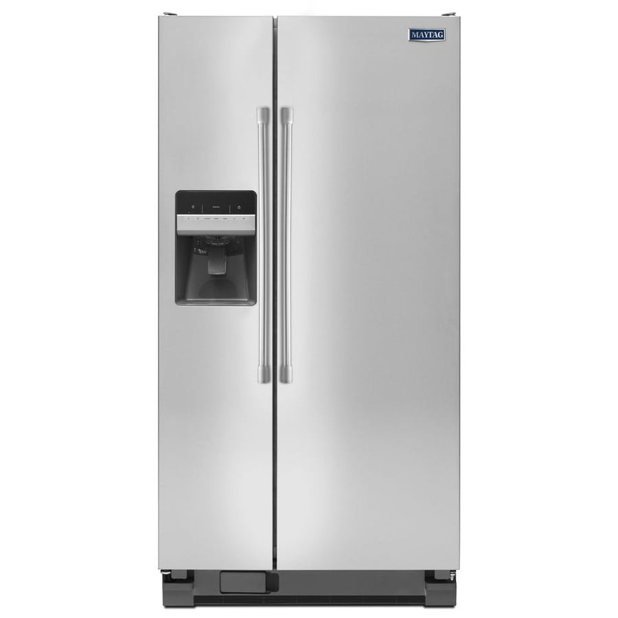 Maytag 24.6-cu ft Side-by-Side Refrigerator with Ice Maker (Stainless steel)