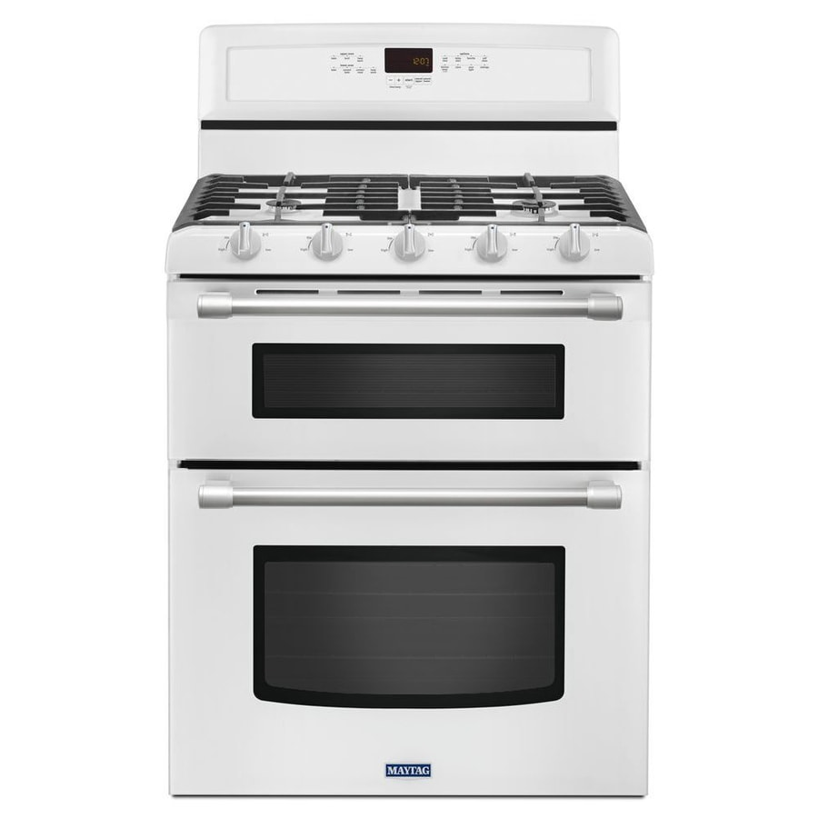 Shop maytag gemini 30 in 5 burner 3 9 cu ft 2 1 cu ft self cleaning double oven gas range white - Gas stove double oven reviews ...