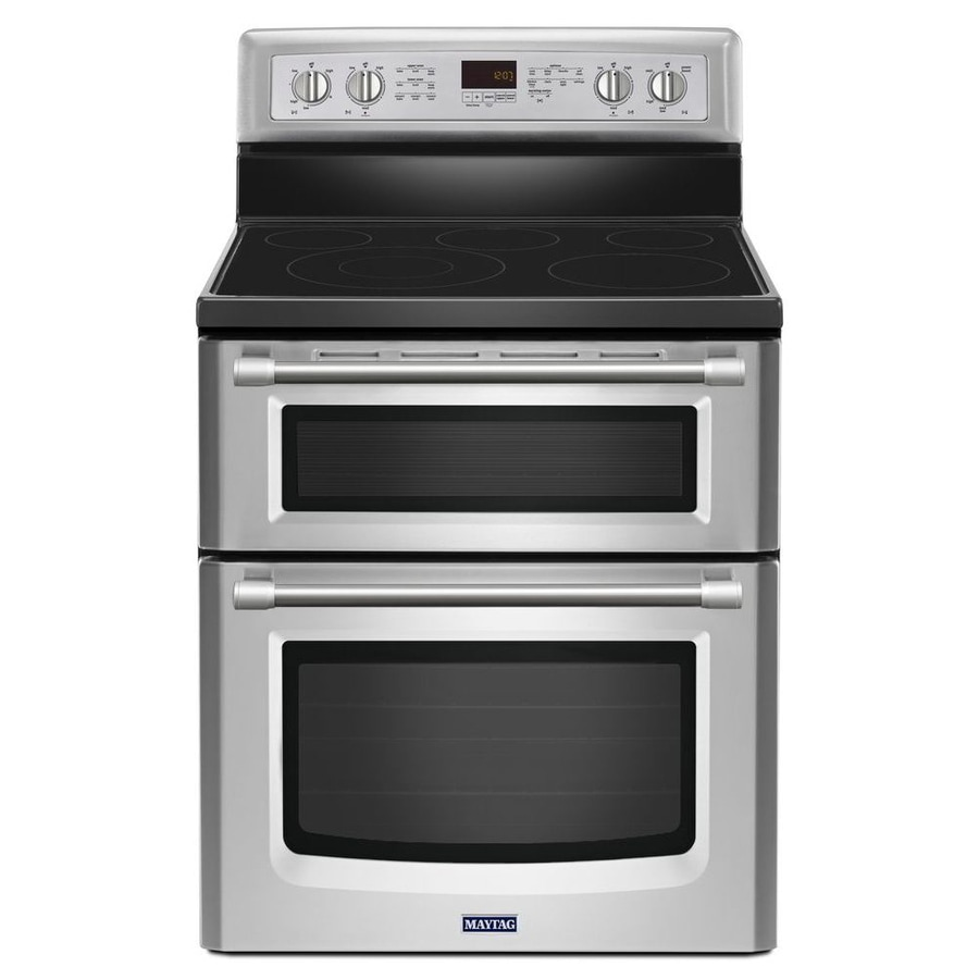 Maytag Gemini 30-in Smooth Surface 5-Element 4.2-cu ft/2.5-cu ft Double Oven Convection Electric Range (Stainless Steel)
