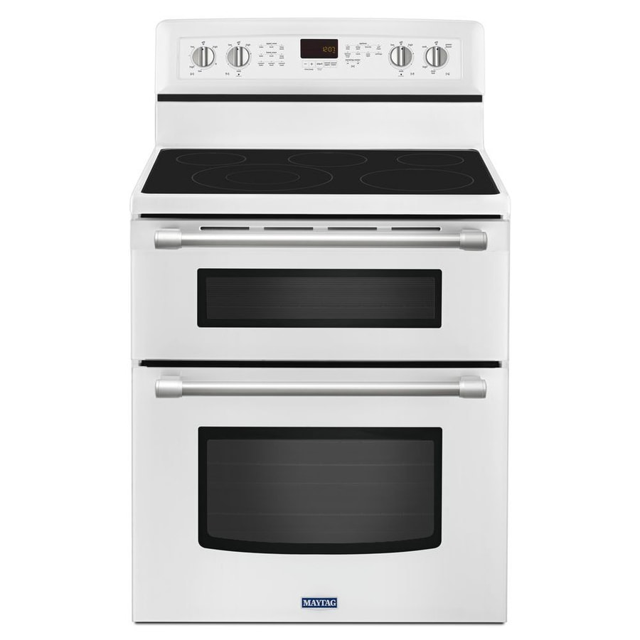 Maytag Gemini 30-in Smooth Surface 5-Element 4.2-cu ft/2.5-cu ft Double Oven Convection Electric Range (White)