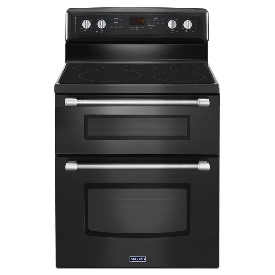 Maytag Gemini 30-in Smooth Surface 5-Element 4.2-cu ft/2.5-cu ft Double Oven Convection Electric Range (Black)