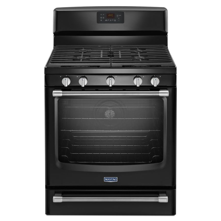 Maytag 5-Burner Freestanding 5.8-cu Self-Cleaning Convection Gas Range (Black) (Common: 30-in; Actual: 29.87-in)