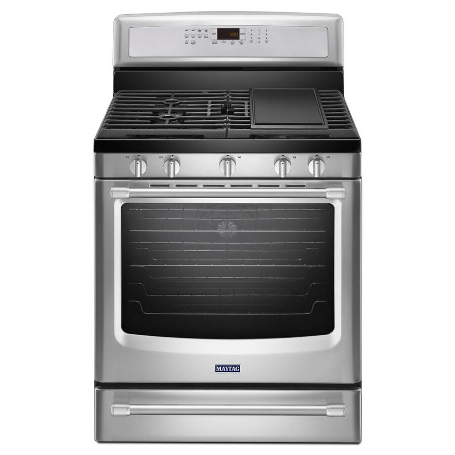 Maytag 5-Burner Freestanding 5.8-cu ft Self-Cleaning Convection Gas Range (Stainless Steel) (Common: 30-in; Actual: 29.875-in)