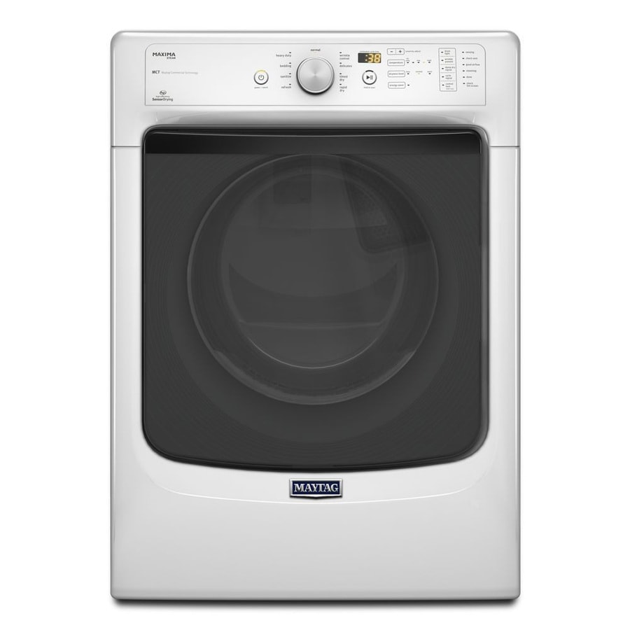 Maytag Maxima 7.3-cu ft Stackable Electric Dryer with Steam Cycle (White)