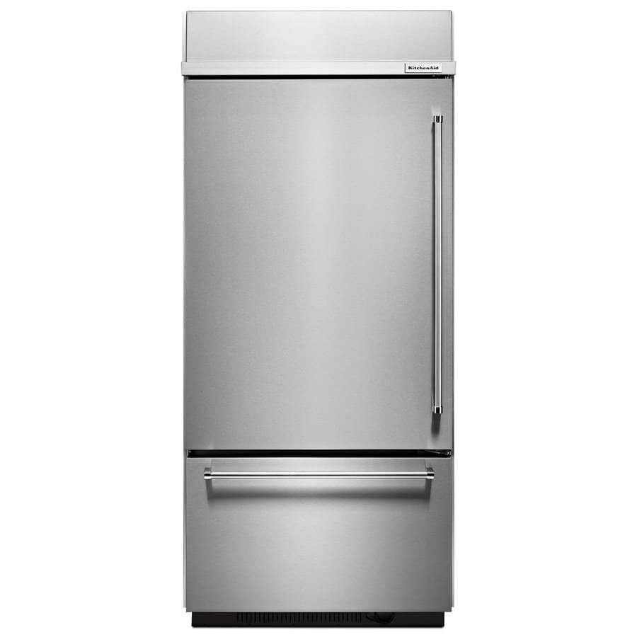 KitchenAid 20.9-cu ft Built-in Bottom-Freezer Refrigerator with Single Ice Maker (Stainless Steel) ENERGY STAR