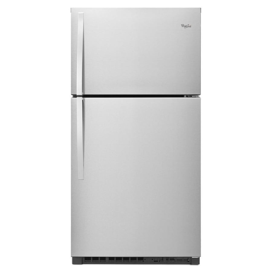 Whirlpool 21.3-cu ft Top-Freezer Refrigerator (Monochromatic Stainless Steel)