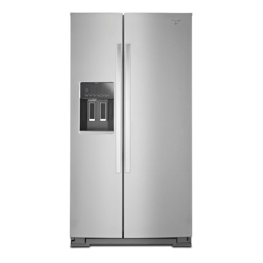 Whirlpool 25.6-cu ft Side-by-Side Refrigerator with Single Ice Maker (Monochromatic Stainless Steel) ENERGY STAR