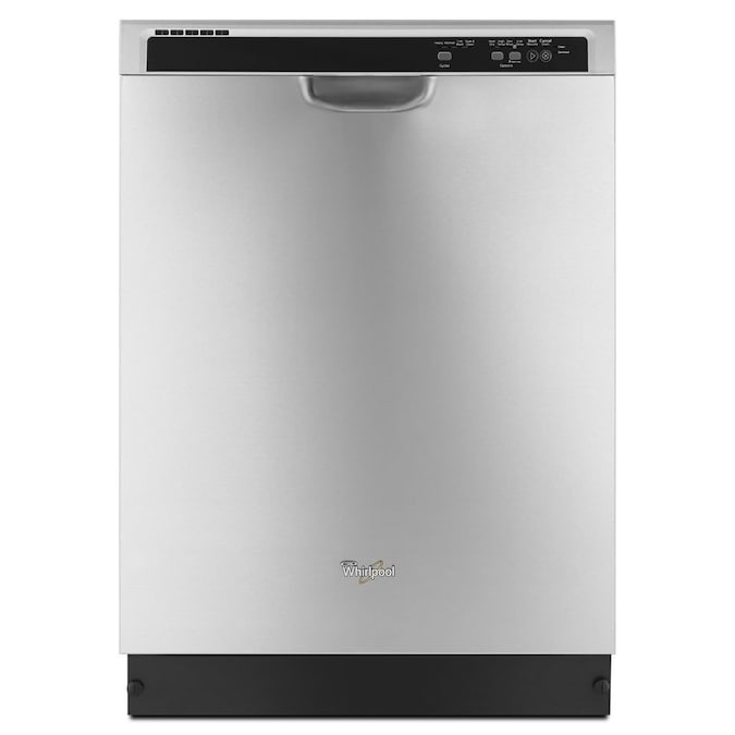 Whirlpool 55 Decibel Front Controls 24 In Built In Dishwasher With 1 Hour Wash Cycle Monochromatic Stainless Steel In The Built In Dishwashers Department At Lowes Com