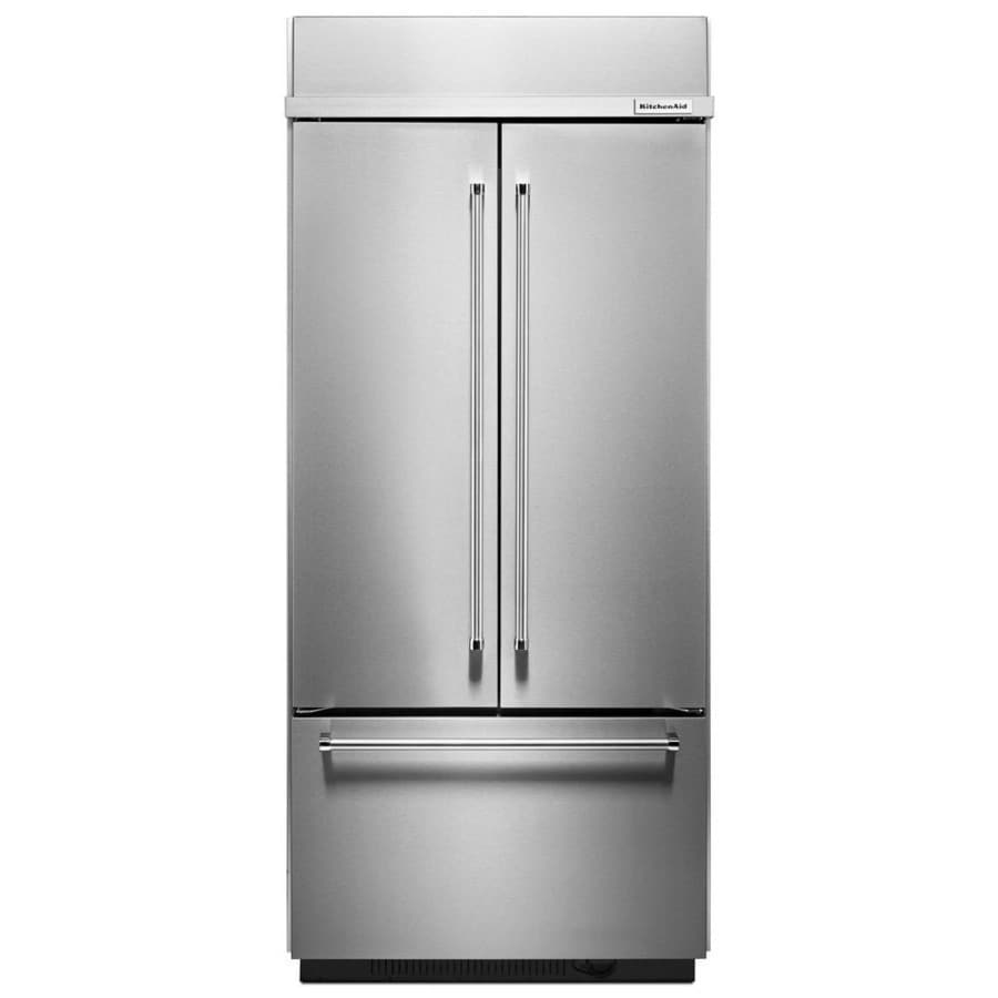 KitchenAid 20.8-cu ft Counter-Depth Built-in French Door Refrigerator with Single Ice Maker (Stainless Steel)
