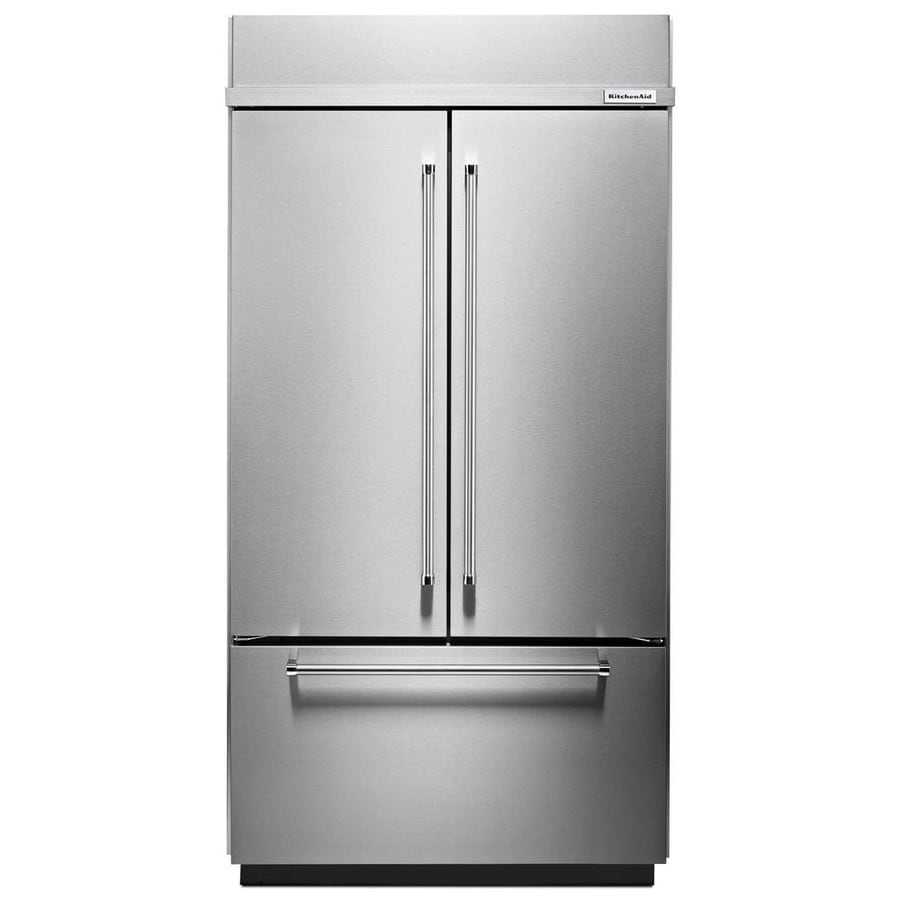 Shop KitchenAid 24.2-cu Ft Built-In French Door Refrigerator With Ice Maker (Stainless Steel