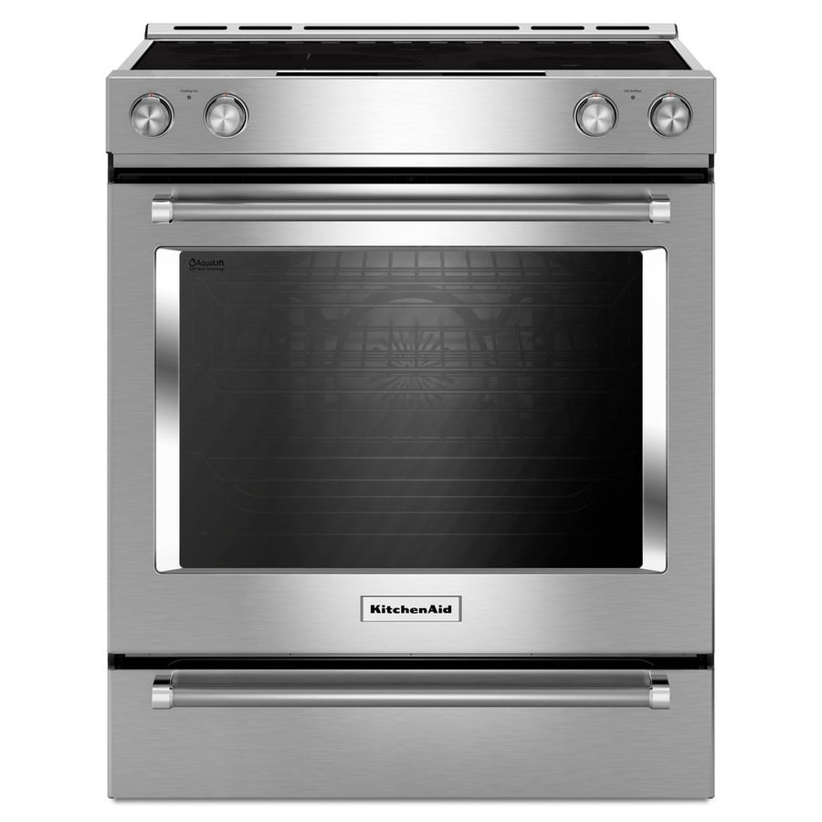 KitchenAid Smooth Surface 5-Element Self-Cleaning Slide-in Convection Electric Range (Stainless Steel) (Common: 30-in; Actual 29.875-in)