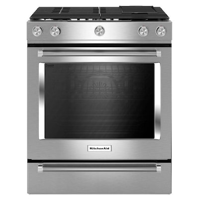 5 Burners 6 Cu Ft Self Cleaning Convection Slide In Gas Range Stainless Steel Common 30 Actual 29 88