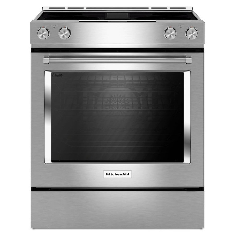 KitchenAid Smooth Surface Self-Cleaning Slide-in Convection Electric Range with Downdraft Exhaust (Stainless Steel) (Common: 30-in; Actual 29.875-in)