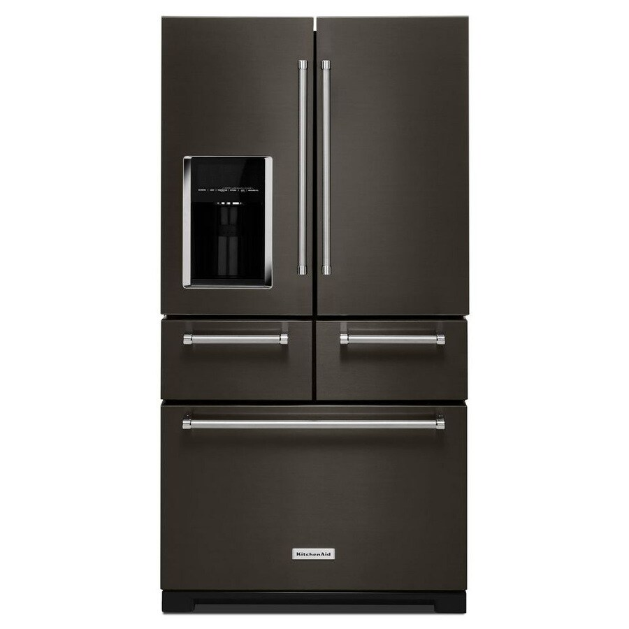 KitchenAid 25.8-cu ft French Door Refrigerator with Single Ice Maker (Black Stainless Steel)