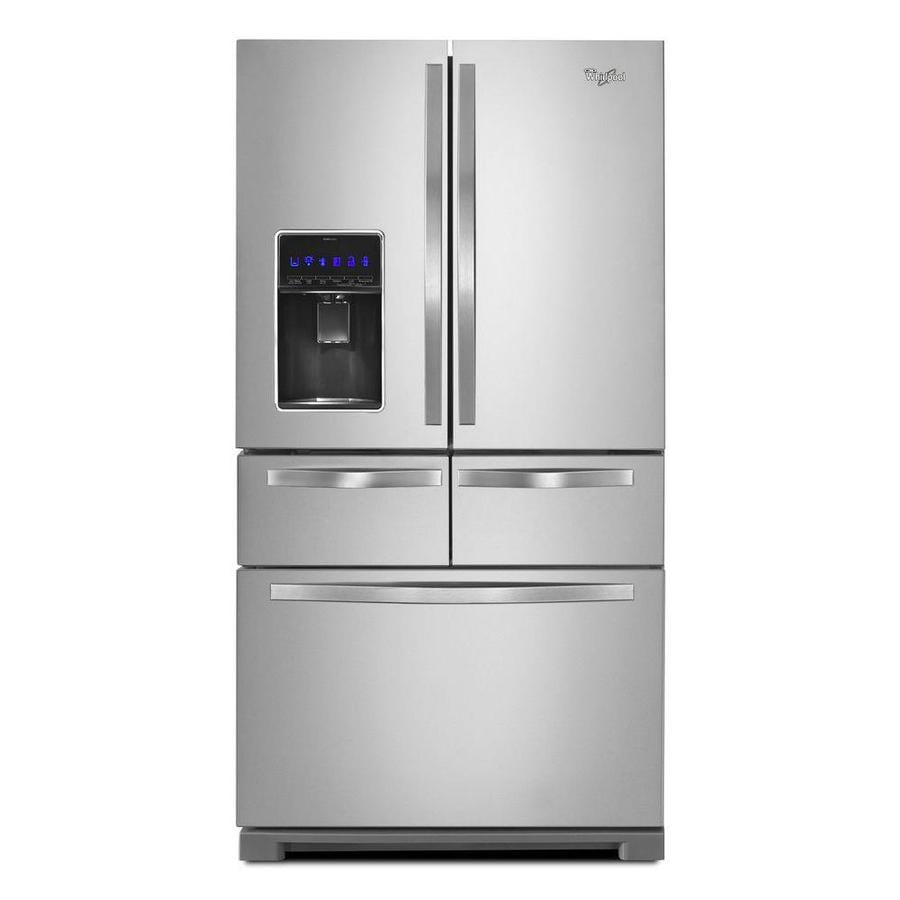 Shop whirlpool 25 8 cu ft 5 door french door refrigerator for Five foot french doors