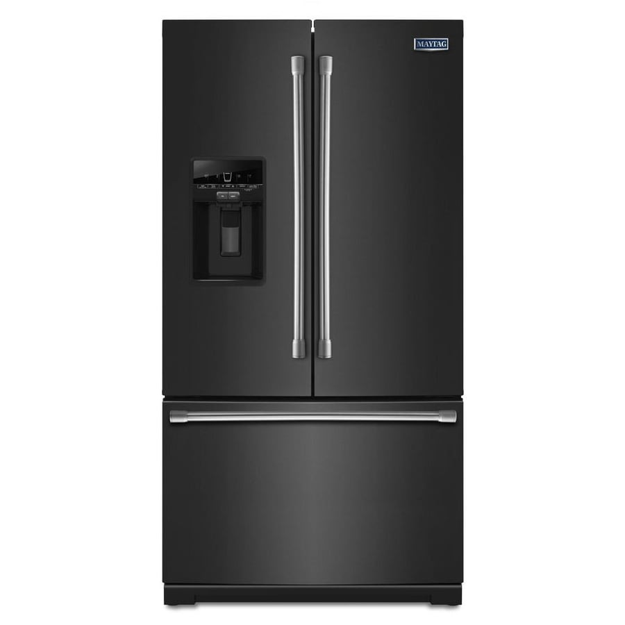 Maytag 26.8-cu ft French Door Refrigerator with Single Ice Maker (Black)