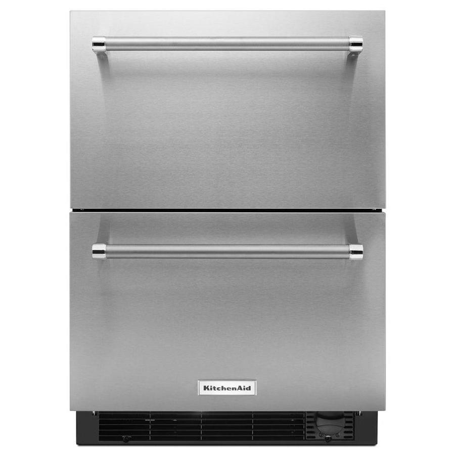 KitchenAid 2375in BuiltIn DoubleDrawer Refrigerator Stainless Steel