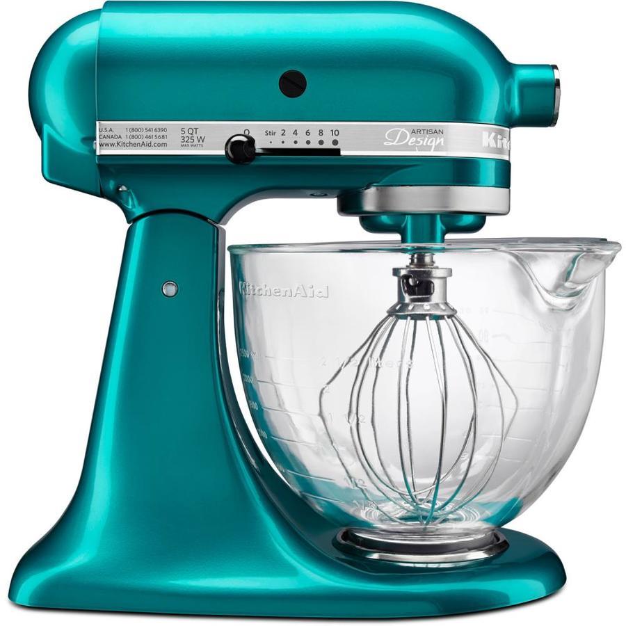 kitchenaid artisan designer 5 quart 10 speed sea glass countertop rh lowes com