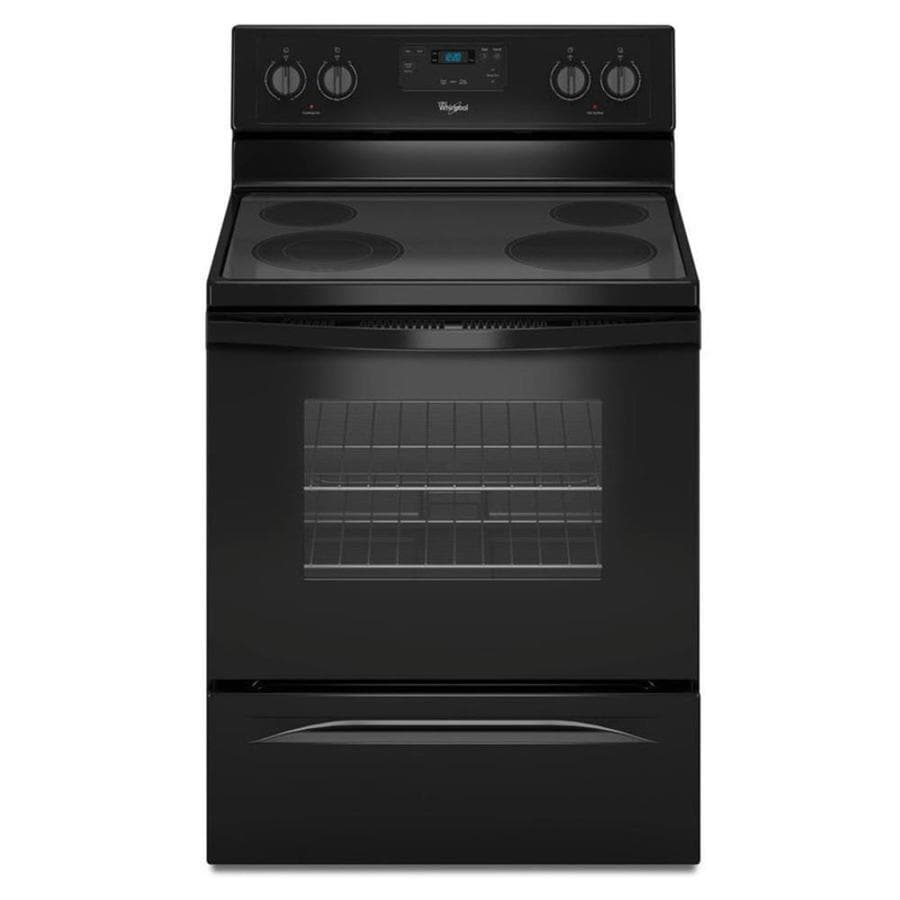 Shop Whirlpool Smooth Surface Freestanding 4 8 Cu Ft Electric Range Black Common 30 In