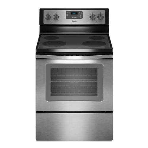 Whirlpool Smooth Surface 4 Elements 4.8-cu ft Freestanding Electric Range (Black-on-stainless) (Common: 30-in; Actual: 29.875-in) at Lowes.com