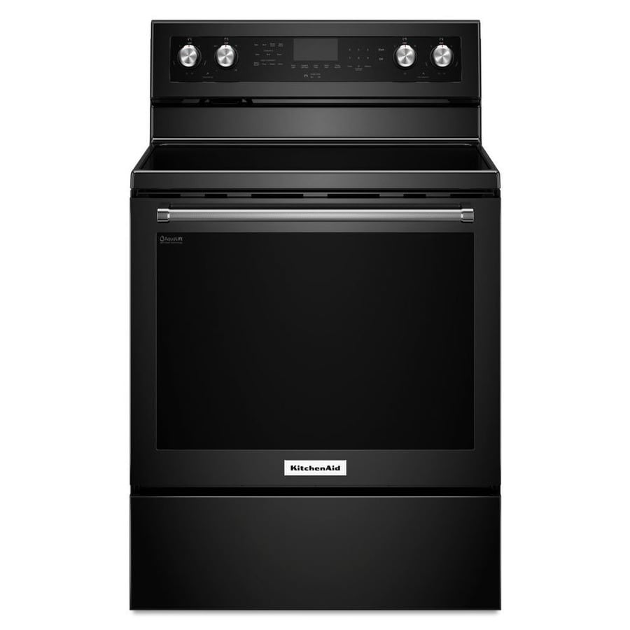 KitchenAid Smooth Surface Freestanding 5-Element 6.4-cu ft Self-Cleaning Convection Electric Range (Black) (Common: 30-in; Actual: 29.875-in)