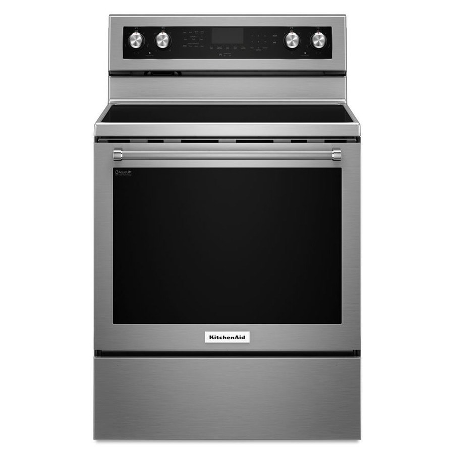 Kitchenaid Smooth Surface Freestanding 5 Element 6 4 Cu Ft Self Cleaning Convection Electric