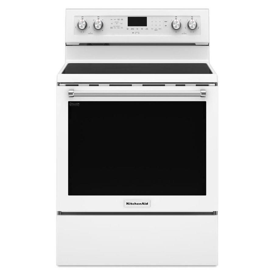KitchenAid Smooth Surface Freestanding 5-Element 6.4-cu ft Self-Cleaning Convection Electric Range (White) (Common: 30-in; Actual: 29.875-in)