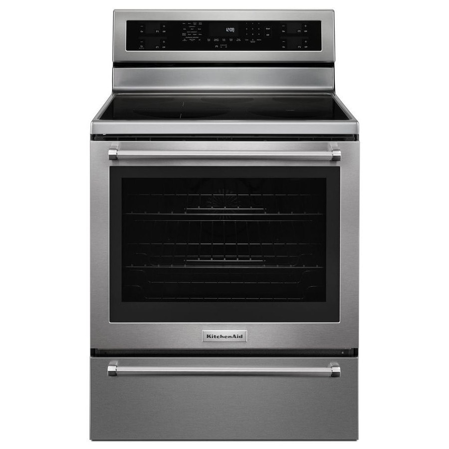 KitchenAid Smooth Surface Freestanding 5-Element 6.4-cu ft Self-Cleaning Convection Electric Range (Stainless Steel) (Common: 30-in; Actual: 29.875-in)