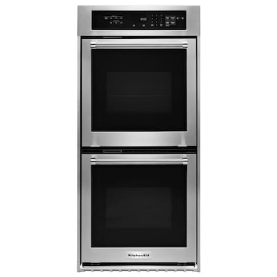 Self Cleaning Convection Double Electric Wall Oven Stainless Steel Common 24 Inch Actual 23 75 In