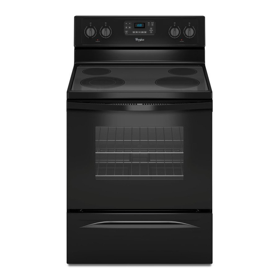 Whirlpool Smooth Surface Freestanding 4-Element 5.3-cu ft Self-Cleaning Electric Range (Black) (Common: 30-in; Actual: 29.875-in)