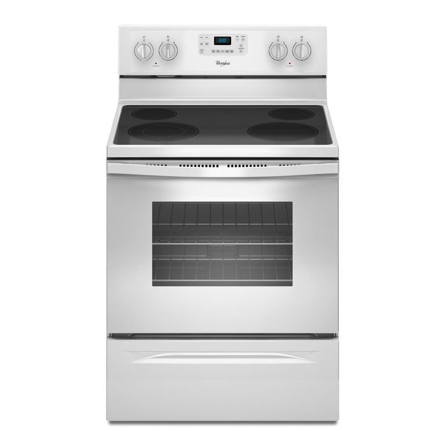 Whirlpool Smooth Surface Freestanding 4-Element 5.3-cu ft Self-Cleaning Electric Range (White) (Common: 30-in; Actual: 29.875-in)