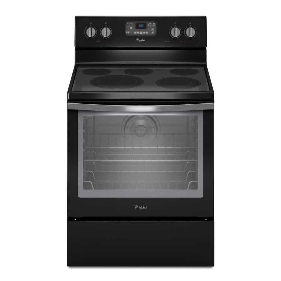 Whirlpool Smooth Surface Freestanding 5-Element 6.4-cu ft Self-Cleaning Convection Electric Range (Black Ice) (Common: 30-in; Actual: 29.875-in)
